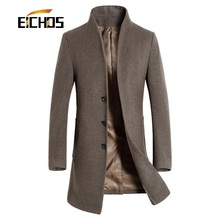 Men's Wool Coat Slim Fit Men Middle Long Coats And Jackets Solid Color Male Manteau Homme Overcoat Winter Woolen Coat Men