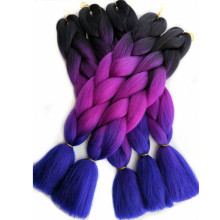 Pervado Hair Synthetic Jumbo Braiding Hair Extensions 100g/Pack 24Inch 65CM Black Purple Blue Ombre Crochet Braids One Piece(China)