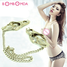 Sex Products Stainless Steel Nipple Clamps with Chain Stainless Steel Breast Nipple Clips Adult Games Sex Toys for Couples O35