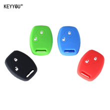 KEYYOU Car Silicone 2 Buttons Skin Remote Car Key Case Cover FOB For Honda 2 BT CR-V Fit Pilot Accord Civic + Logo