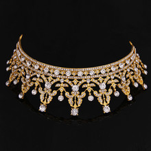 Hot Sale Europe Royal Gold Tiaras Fashion Crystal Drill Bride Hair Accessories Fashion Hair Jewelry 2016 Fashion Newest Hairwear