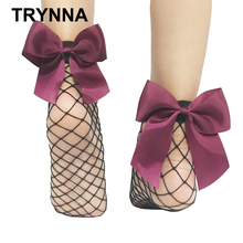TRYNNA New 2017 Fashion Women Ruffle Large Fishnet Ankle High Socks Bow Tie Mesh Lace Fish Net Short Socks