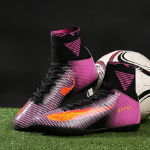 New Design Football Boots High Top TF indoor Kids Futsal Soccer Shoes High Quality Turf Men Sock Cleats WholesaleTrainers(China)