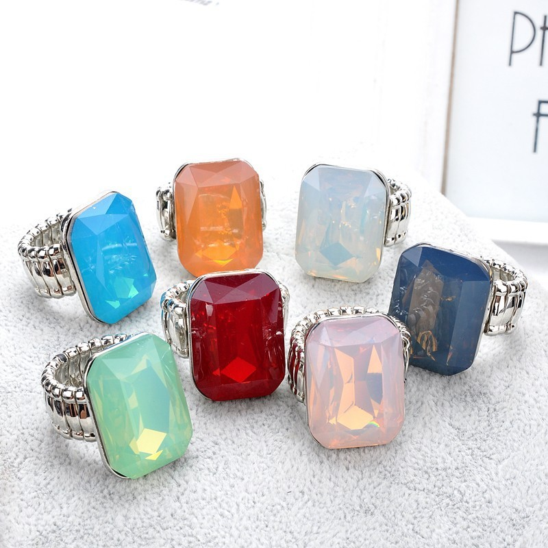 Ring for Women 7 opal Colors Big resin Fashion Elastic Stretch Finger Rings Jewelry Christmas Gift (5)