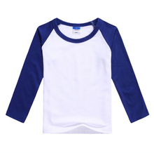 Plain Boys Girls Casual Blank T Shirt Kids Blue White Long Sleeve So Unisex Cotton Basic Undershirt Kids Clothes 2-12T KT-1538