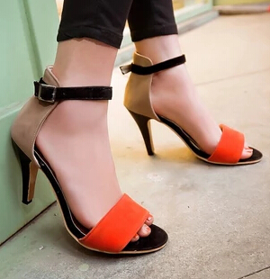 New 2015 Sexy Gladiator Ankle Straps High Heels Fashion Brand Women Sandal Summer Mixed Colors Open Toe Sandalias Big Size 34-43<br><br>Aliexpress