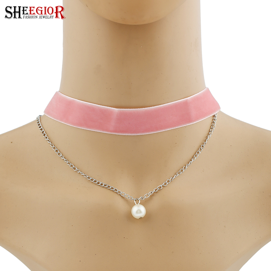 SHEEGIOR CC Simple Sexy Choker Necklace Women 2 Layers Black Red Pink Color Soft Lovely Channel Necklaces Fashion Jewelry Bijoux(China)