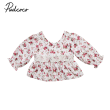 2017 Brand New Newborn Toddler Infant Kids Baby Girls Floral Boho Lace Long Sleeve Tops T-shirt Floral Autumn Shirts 0-4T(China)