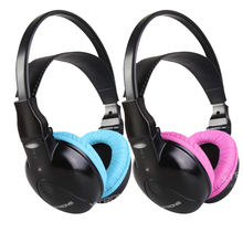 Dual Channel Wireless IR Headphones for Car Headrest DVD & TV & PC & MP3 for Children with Pink Color(China)