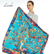 LESIDA Pure Silk Scarf Women Large Shawls Stoles Tree Print Square Scarves Echarpes Foulards Femme Wrap Bandanas 130*130CM 1303(China)
