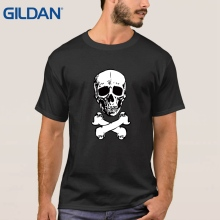 Cheap Sale black men's With Rodger Skull Pirate Skull Day Of Death t-shirts Unisex tee shirts(China)