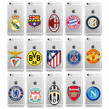 football soccer clubs Soft TPU Clear Phone Case Cover Coque For iPhone 7Plus 7 6 6S 5 5S SE 5C 4 4S Galaxy S5 S6 S7 S7 edge