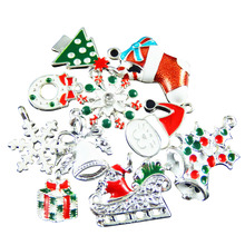Wholesale 30pcs Colorful Mixed Christmas Snowflake Gift Enamel Charms Fit Jewelry Making Hanging Art Small Metal Handmade Crafts