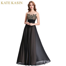 Kate Kasin Lace Appliques Bridesmaid Dresses Long Patterns Floor Length Junior Prom Dress Black Bridesmaids Dresses for Wedding(China)