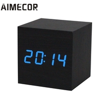 Aimecor Digital LED Black Wooden Wood Desk Alarm Brown Clock Voice Control Reloj Despertador #30 Gift 1pc Drop