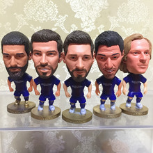 Soccerwe 2018 Season Football Star Doll 6.5 cm Height Resin Suarez Messi Neymar JR Iniesta Doll BC Blue Red Kit Christmas Gift(China)
