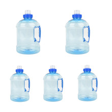 5pcs/lot 1000ML BPA Free Gym Sport Water Bottle Water Jug Container Big Drink Training Bottle +Handle Blue for bicycle camping(China)