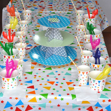 130*180cm Colorful Flags Disposable Table Cloth for Birthday Christmas Party Nursery Table Decor Plastic Tablecover