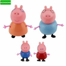 4 Pcs Kids Toys Dolls Pepa Pig Toys Dolls Daddy Mummy Pig George Pepa Pig Family Set with Box