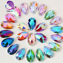 Droplet Resin Sew On Rhinestone Teardrop Flatback Sew-on Crystal Sewing Stones withTwo Holes for Dress DIY Decoration B3402(China)
