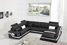Sofas for living room modern sofa set with sectional sofa furniture with U Shape corner Black color
