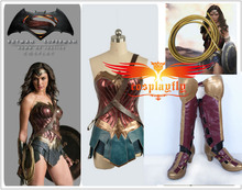Batman v Superman:Dawn of Justice Wonder Woman Cosplay Costume with Boots Full Set For Adult with 1.5-2m Rope/Whip (Foot length)