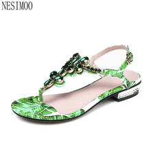 NESIMOO 2018 Women Sandals Shoes Woman Genuine Leather Beach Low Heel  Pointed Toe Slingback Ladies Wedding Shoes Size 34-42 7e22a4d5948b