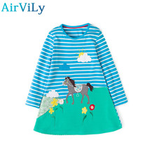 2017 Rushed Sale Full Print Baby Girl Dresses Long Sleeve Princess Girls Cartoon Deer Clothes Children Kids Pattern Clothing