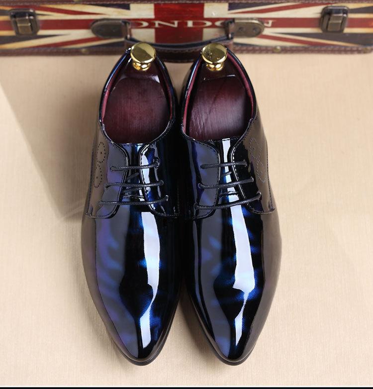 NPEZKGC Big Size 38-48 Men Shoes PU Leather Casual Shoes Fashion Lace Up Oxfrds Shoes Breathable Patent Leather Men Flat Shoes 19