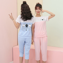 New Hot Sale Women Pajamas Sets Summer Short Sleeve Cotton Thin Pajamas Home Furnishing Clothing Cartoon Print Cute Big Yards