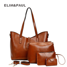 ELIM&PAUL Shoulder Bags Sets Fashion PU Leather Composite Messenger Bag Women's Bag Female Crossbody Purse Women Handbag Bolsas(China)
