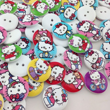 100Pcs 20mm White Print Kitty Cat Wood Buttons Clothing Sewing Tool Accessories WB09(China)