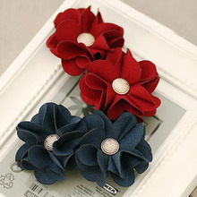 Double Thick Cotton Begonia Flower with Button Spring Hair Clip for Women Handmade High Quality Flowers Barrettes