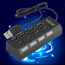 Hot Sale 1Pcs ON/OFF Sharing Switch Mini 4 Port USB 2.0 High Speed HUB Black For Laptop PC high quality
