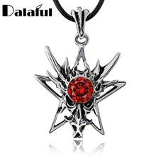 Men's Dragon Star Rhinestone Titanium Stainless Steel Punk leather chain Pendant Necklace X578