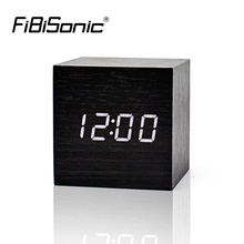 FiBiSonic Wood Wooden LED Alarm Clock with Temperature Sounds Control LED Electronic Desktop Digital Table Clocks(China)