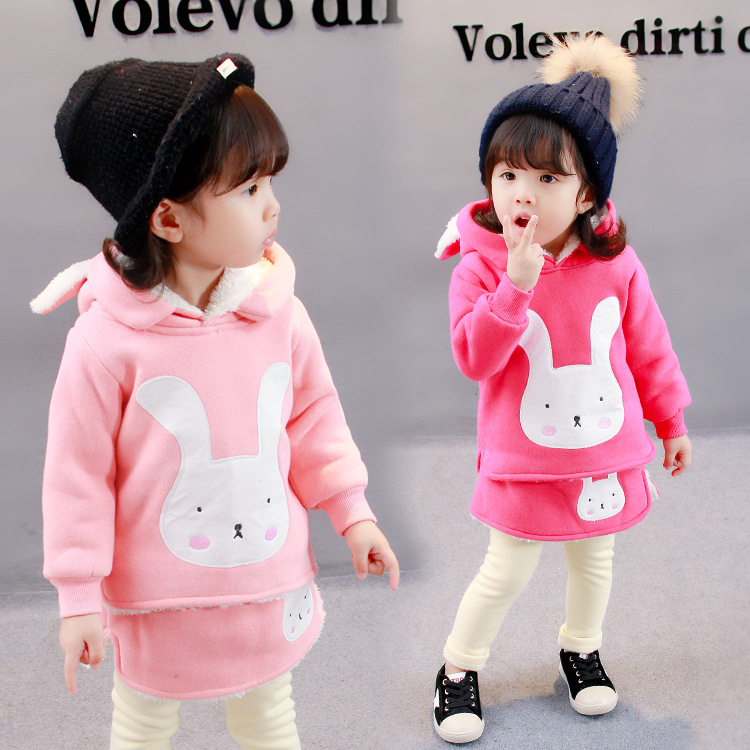 2 Pieces 12M-5T Baby Clothing Sets Long Sleeve T-Shirt + Pants Thichening Cute Cartoon Rabbit Baby Girl Clothes Sets Winter V20<br>