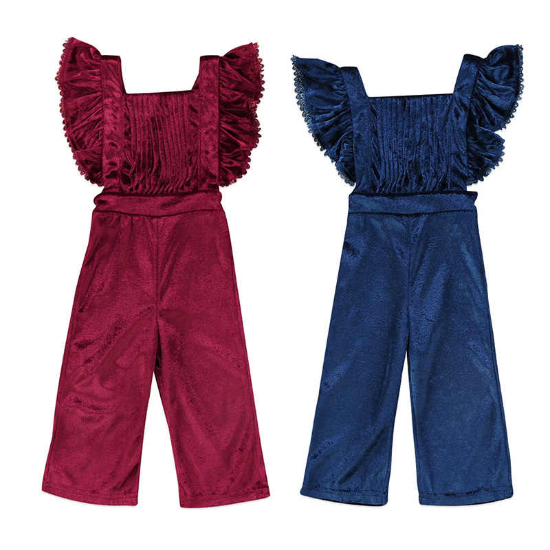 2a4748a92 Newborn Toddler Kids Girls Velvet Romper Fashion Sleeveless Ruffles Backless  Halter Jumpsuit Bib Pants Outfit Children