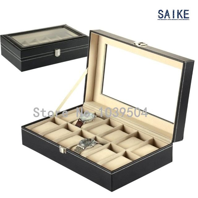 Standard 12 Grids Leather Watches Box Black Brand Top Quanlity Watch Display Box New Square Watch Storage Box Jewelry Box D247<br>