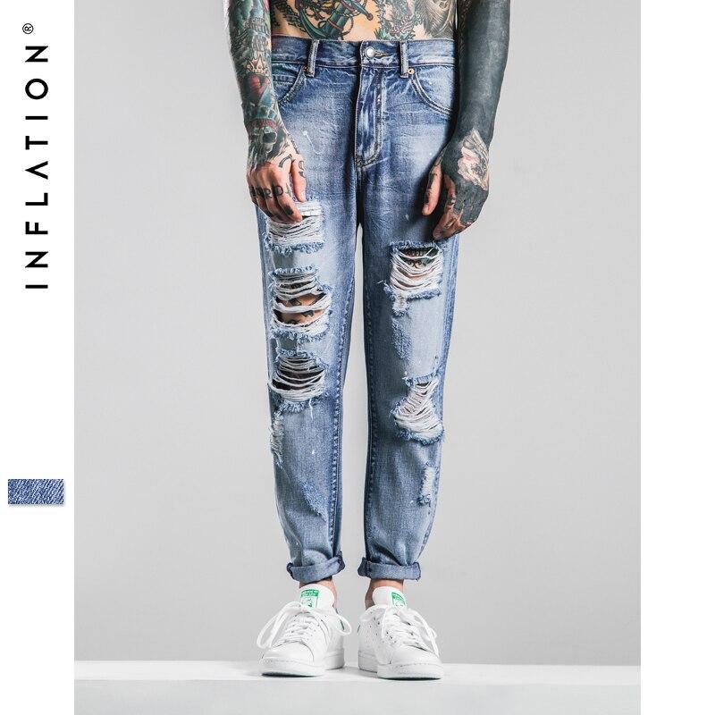 INFLATION 2016 Autumn Streetwear Ankle-Length Pants Mens Light Blue Jeans Brand Ripped Jeans For Men Jeans MenÎäåæäà è àêñåññóàðû<br><br>