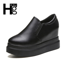 HEE GRAND Women Black Casual Daily Shoes Spring Autumn White Cheap High Platform Shoes for Women Girl Student Shoes XWC1237(China)