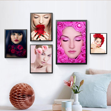 rose flowers beautiful makeup girls canvas painting fashion modern picture wall art print poster painting HD2038
