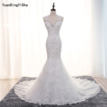 Buy Real Photos Mermaid Wedding Dress 2017 Lace Appliques Beading Vestido De Novia Sexy Backless Robe De Mariage Chapel Train for $236.00 in AliExpress store