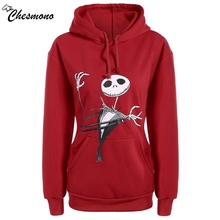 chesmono New Arrival Women Casual Cotton Pullovers Cartoon Printed Sweatshirts Autumn Loose Thickening O-Neck skull Sweatshirts(China)
