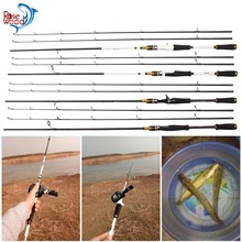 2 Tips M & MH Fishing Rods, Spinning/Casting Black/White Rod, 7-Feet Bass Fishing Rod Pesca Peche Fishing Stick Tackle