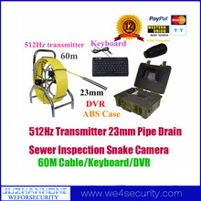 512Hz Transmitter Drain Pipe Inspection Camera With 60m Cable DVR Recorder Keyboard,7mm Fiberglass 7'Color LCD 12pcs Leds Camera