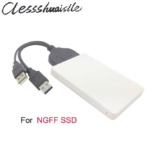 USB 3.0 to SATA 22 pin to M.2 NGFF PCI-E 2 LANE SSD hard disk case Enclosure White With Extral Power for E431 E531 X240 Y410P