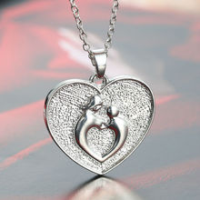Mother And Her Child Heart Silver Chain Pendant Necklace Family Mother's Day Gifts For Womens Jewelry Necklaces Souvenir Charm