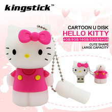 2017 New Cute cartoon pink hello kitty usb flash drive 16GB 8GB 4GB pen drive 64GB 32GB flash memory stick U disk(China)
