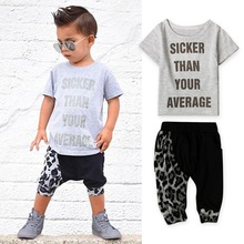 2017 New Baby boy clothes summer kids clothes Leopard print short sleeve t-shirt + pants 2pcs casual suit children clothing set